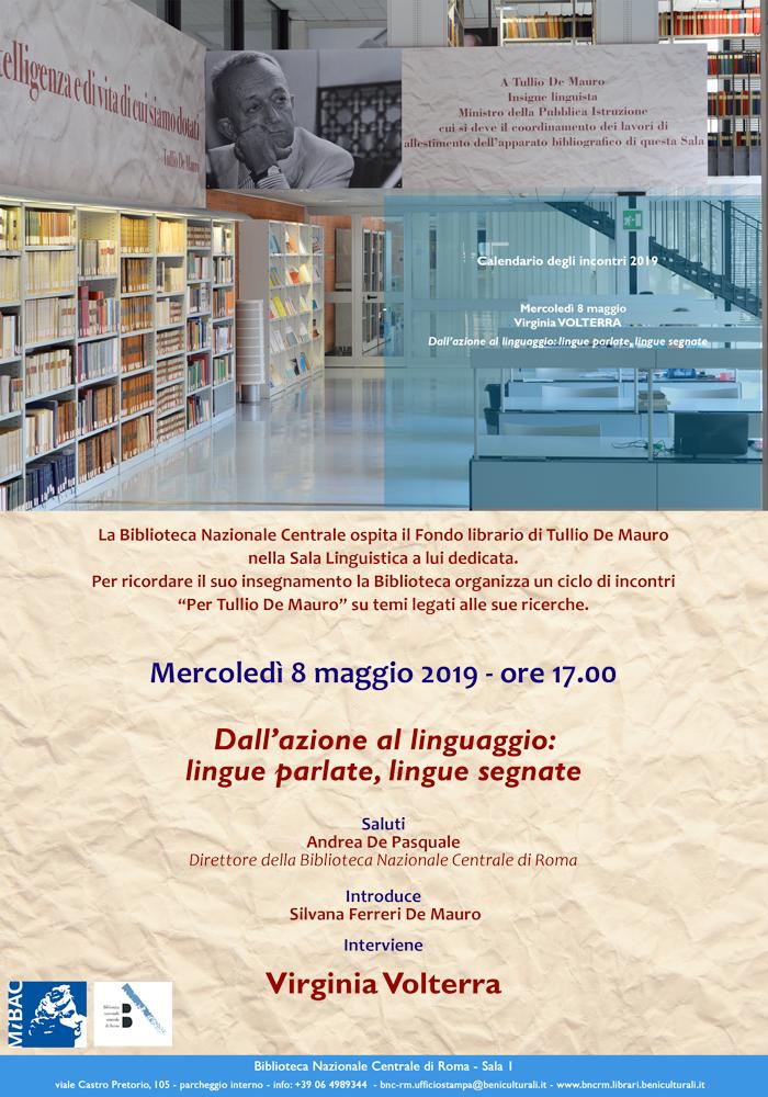 Locandina dell'incontro dell'8 Maggio alla Biblioteca Centrale, in onore di Tullio De Mauro.