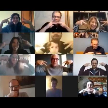 I membri e i collaboratori del LaCAM, mentre fanno gli auguri alla dott.ssa Caselli in teleconferenza